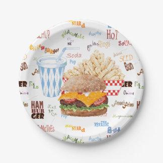Prato De Papel O Hamburger frita o comensal do CHURRASCO do fast