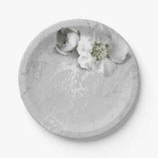Prato De Papel O jasmim branco metálico Apple das cinzas de prata