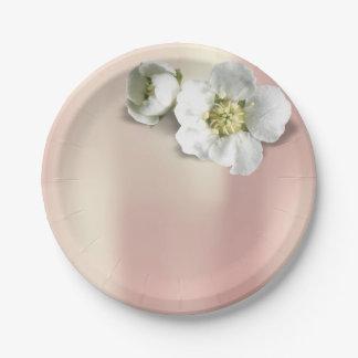 Prato De Papel O jasmim branco metálico Apple do ouro cor-de-rosa