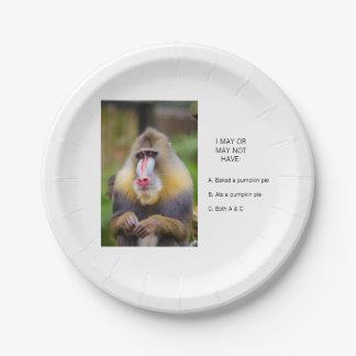 Prato De Papel O macaco engraçado comeu o tarte de abóbora