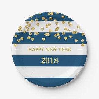 Prato De Papel O marinho listra placas do feliz ano novo dos