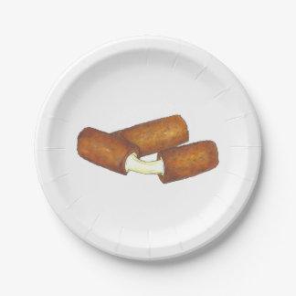 Prato De Papel O mozzarella cola placas de Foodie da comida lixo