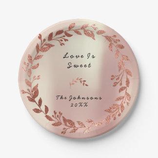 Prato De Papel O ouro do rosa do rosa cora casamento nupcial da