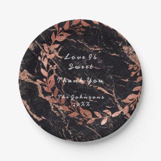 Prato De Papel O ouro do rosa do rosa cora mármore floral do