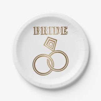 Prato De Papel O ouro ligado soa o casamento da noiva