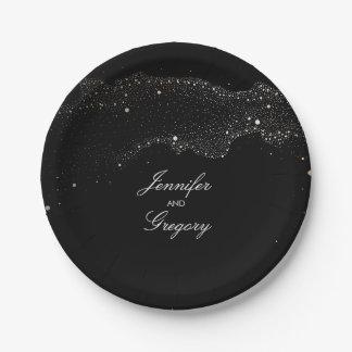 Prato De Papel O ouro preto da noite Stars o casamento romântico