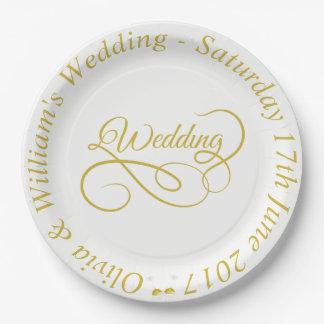 Prato De Papel O ouro Wedding da placa de papel quadro & gráfico