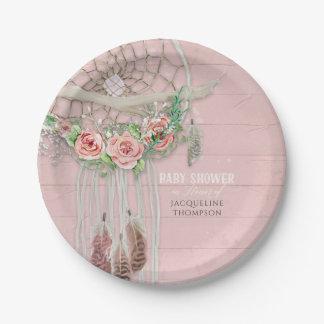 Prato De Papel O pêssego floral moderno do rosa quente do chá do