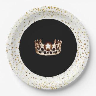 Prato De Papel O Placa-Ouro do papel do partido da coroa da