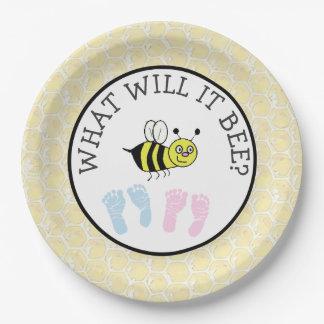 Prato De Papel O que ele chá de fraldas da abelha Bumble as