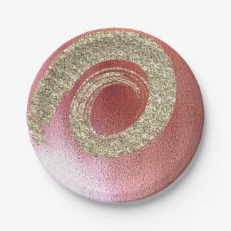 Prato De Papel O rosa cor-de-rosa de Ombre do ouro cora brilho do