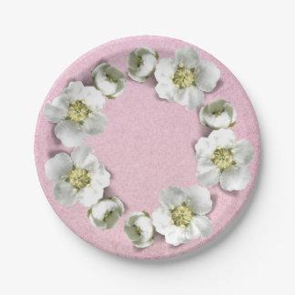 Prato De Papel O rosa do rosa cora brilho floral do casamento da