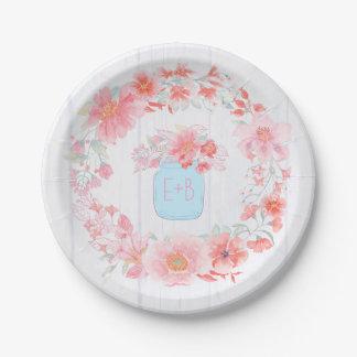 Prato De Papel O rosa e o frasco de pedreiro floral azul envolvem