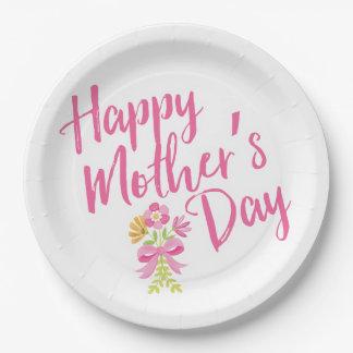 Prato De Papel O rosa feliz do dia das mães floresce o presente
