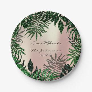 Prato De Papel O rosa tropical da floresta cora obrigado do verde