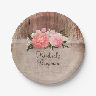 Prato De Papel O rosa velho de madeira rústico de serapilheira