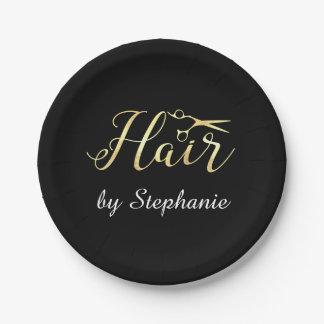 Prato De Papel O roteiro dourado Scissors o cabeleireiro do