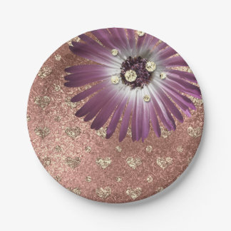 Prato De Papel O roxo da flor cora vidro cor-de-rosa do diamante