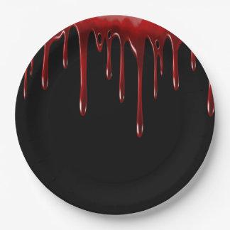 Prato De Papel O sangue de Falln goteja o preto