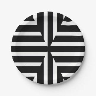 Prato De Papel O sólido preto e branco moderno listra a placa de