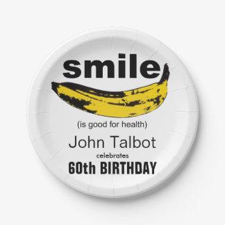 Prato De Papel O sorriso é placa de papel da boa 60th festa de