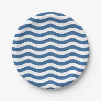 Prato De Papel O teste padrão azul branco do marinho da onda