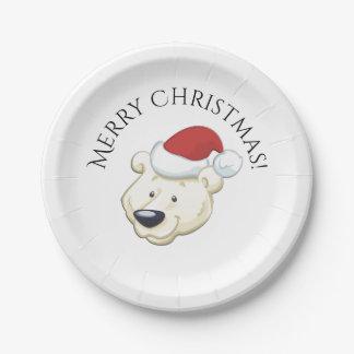 Prato De Papel O urso polar do Natal deseja o Xmas da feliz