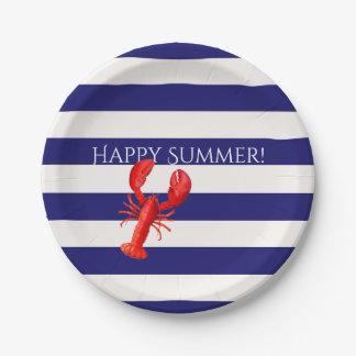 Prato De Papel O verão feliz azul e o branco listram a lagosta