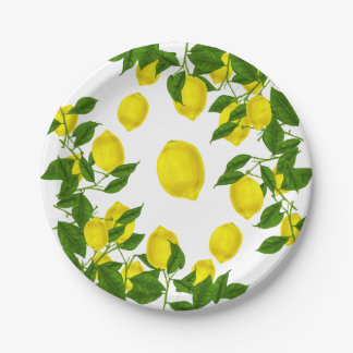 Prato De Papel O verde amarelo do limão do citrino deixa a festa