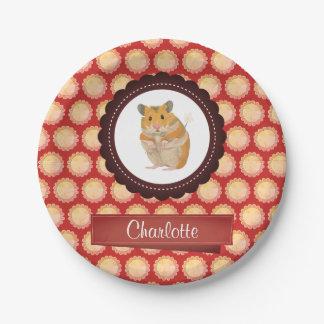 Prato De Papel O vermelho adiciona seu hamster conhecido