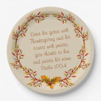 Prato De Papel O verso da bíblia da grinalda da acção de graças