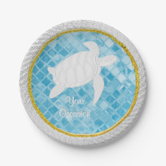 Prato De Papel O vidro azul do mar da corda da tartaruga de mar