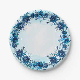 Prato De Papel O vintage da aguarela do azul de índigo floresce
