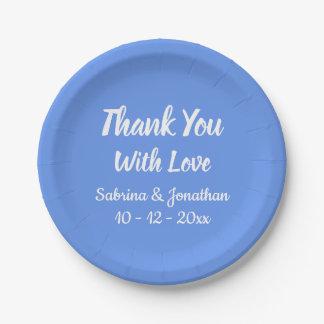 Prato De Papel Obrigado azul do Cornflower você casamento, chá de