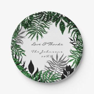 Prato De Papel Obrigado branco preto tropical do verde de Cali da