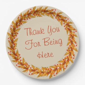 Prato De Papel Obrigado da grinalda da acção de graças você para