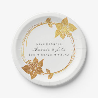Prato De Papel Obrigado floral da grinalda do ouro nupcial branco