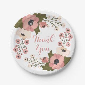 Prato De Papel Obrigado floral você flores cor-de-rosa da