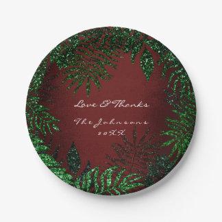 Prato De Papel Obrigado tropical do verde do pCali de Borgonha da