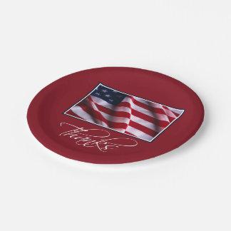 Prato De Papel Obrigados patrióticos da bandeira americana no