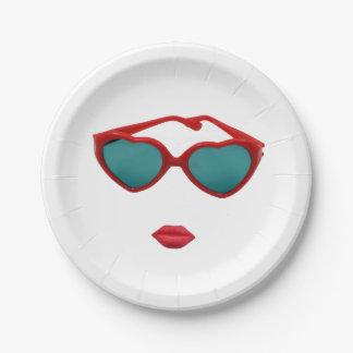 Prato De Papel Óculos de sol e lábios vermelhos dos doces