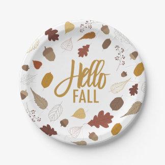 Prato De Papel Olá! placas do folhagem de outono