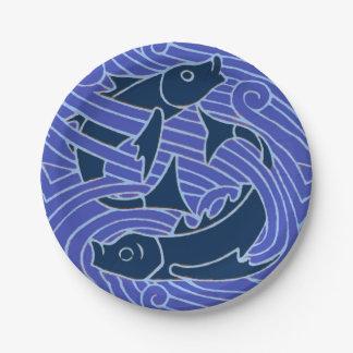 Prato De Papel Ondas nadadoras do azul dos peixes