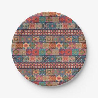 Prato De Papel Ornamento de talavera do mosaico do vintage