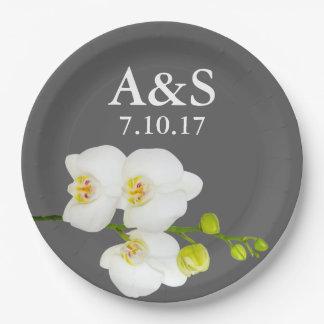 Prato De Papel Orquídeas brancas que Wedding as iniciais & a data