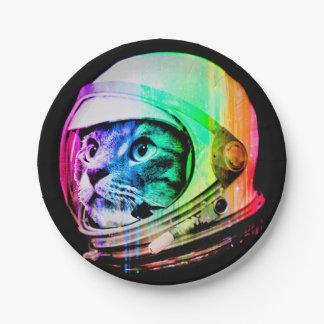 Prato De Papel os gatos coloridos - astronauta do gato - espaçam
