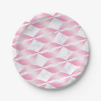 Prato De Papel os lábios cor-de-rosa femininos elegantes do ouro