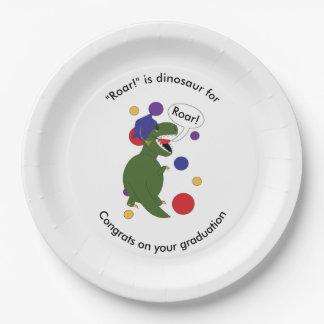 Prato De Papel Os tiranossauros Rex da graduação personalizam