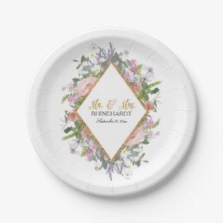 Prato De Papel Ouro cor-de-rosa do chá de panela floral moderno
