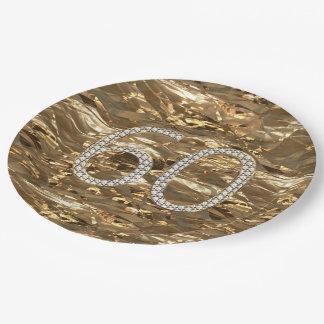 Prato De Papel Ouro do aniversário do casamento de diamante 60th